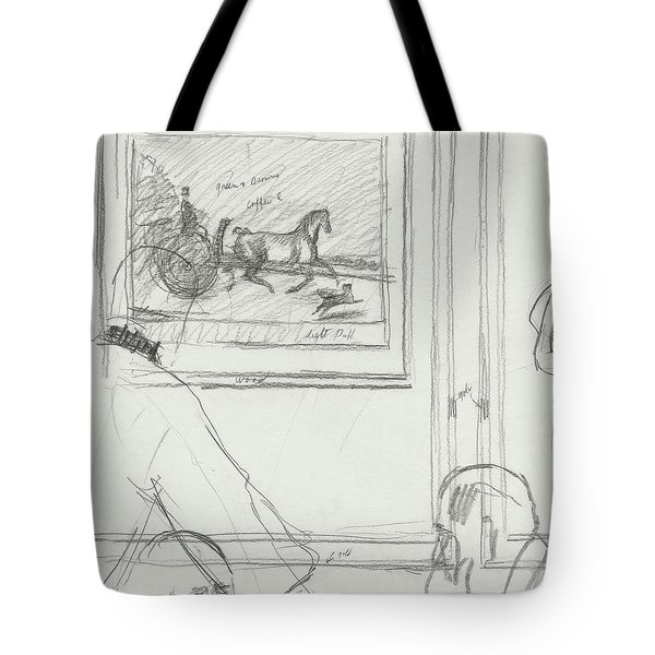 A Sketch Of A Horse Painting At A Bar Tote Bag