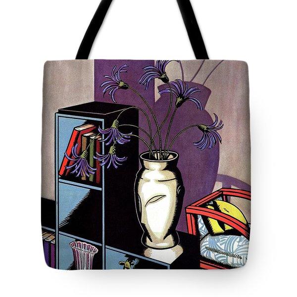A Skyscraper Style Bookcase With A Vase Tote Bag