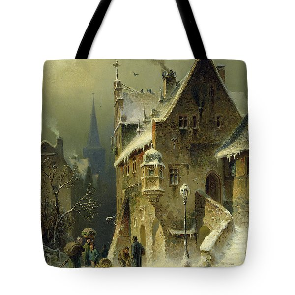 A Small Town In The Rhine Tote Bag by August Schlieker