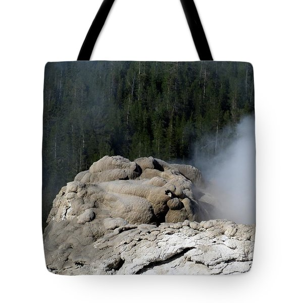 A Smoking Man. Yellowstone Hot Springs Tote Bag