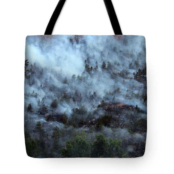 A Smoky Slope On White Draw Fire Tote Bag
