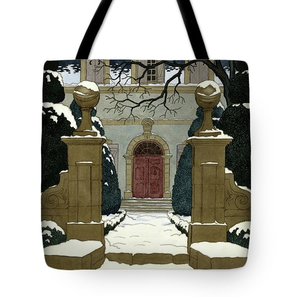 A Snow Covered Pathway Leading To A Mansion Tote Bag