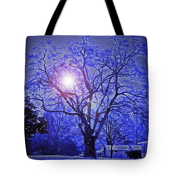 A Snow Glow Evening Tote Bag