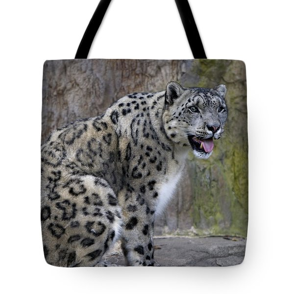 Tote Bag featuring the photograph A Snow Leopards Tongue by David Millenheft