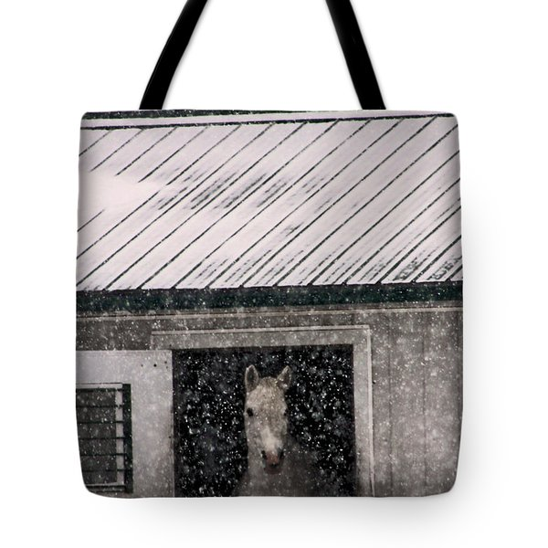 A Snowfall At The Stable Tote Bag by Bruce Patrick Smith