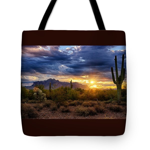 A Sonoran Desert Sunrise Tote Bag