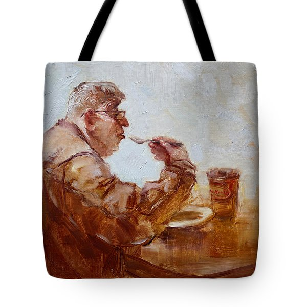 A Soupe Break At Tim Hortons Tote Bag by Ylli Haruni