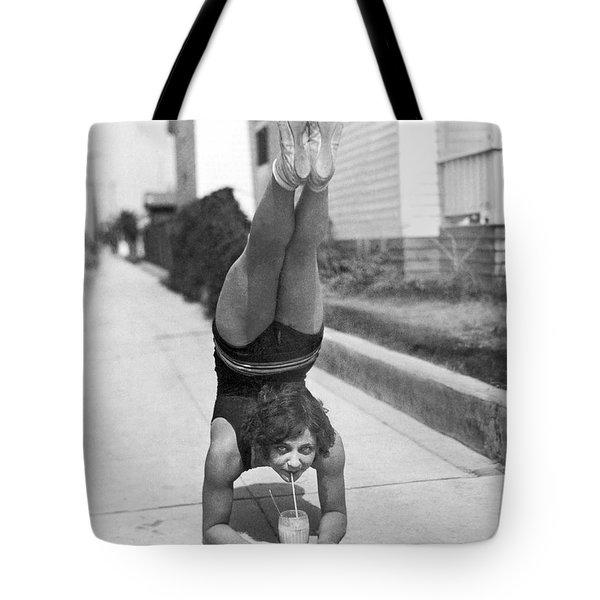 California Girl Imbibes Soda Upside Down Tote Bag