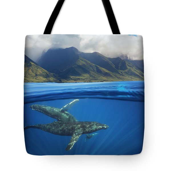 A Split Image Of A Pair Of Humpback Tote Bag