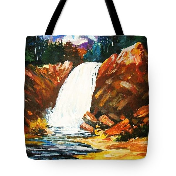Tote Bag featuring the painting A Spout In The Forest by Al Brown