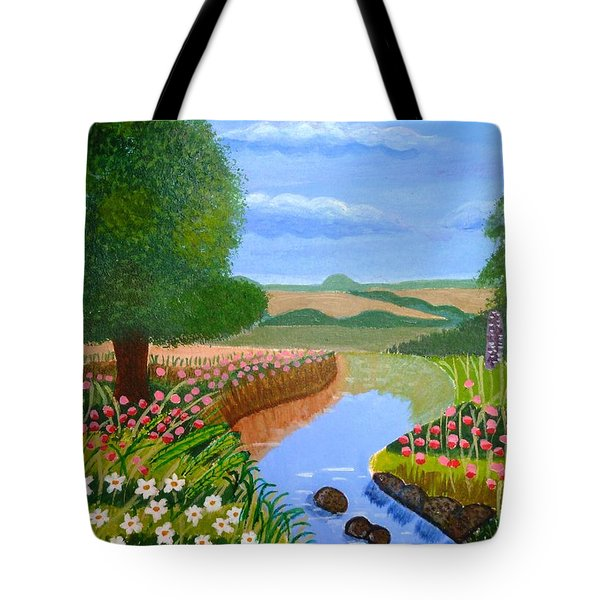 Tote Bag featuring the painting A Spring Stream by Magdalena Frohnsdorff
