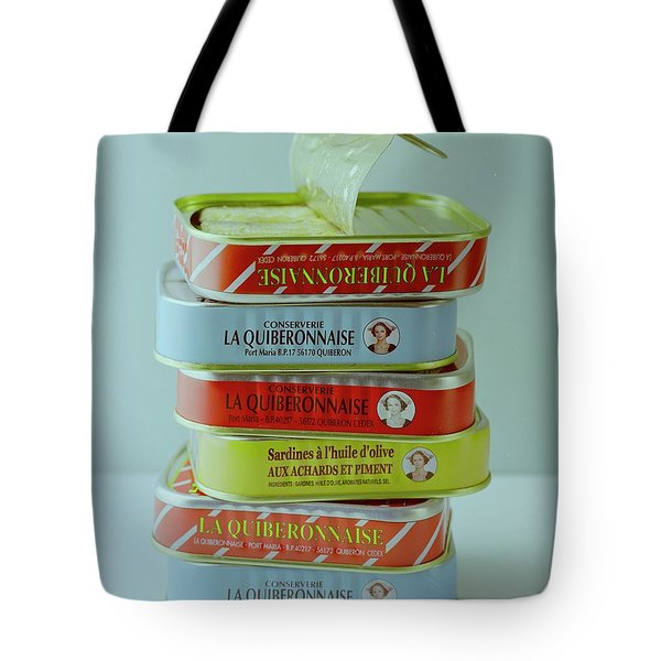 A Stack Of Cans Of Sardines Tote Bag