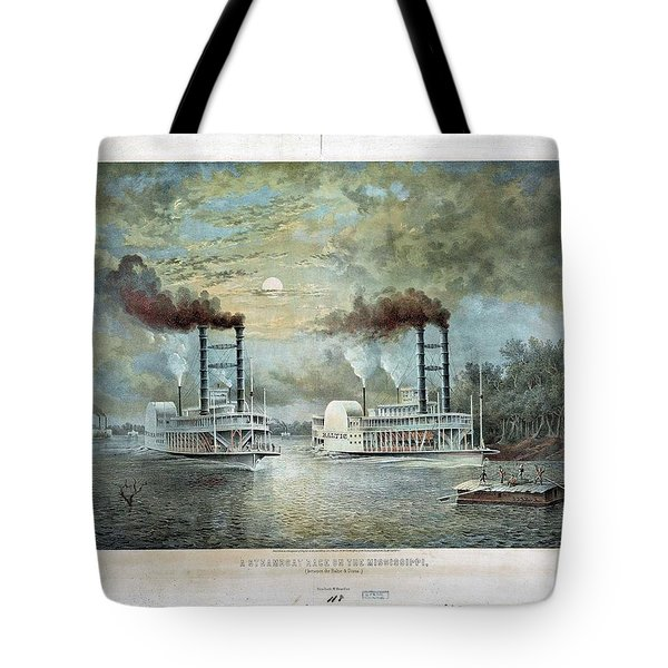 A Steam Boat Race On The Mississippi Between Baltic And Diana Tote Bag