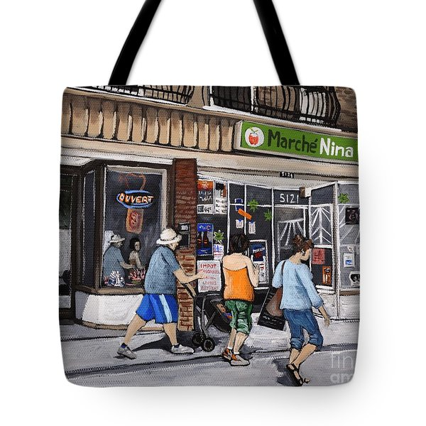 A Stroll Down Wellington Street In Verdun Tote Bag by Reb Frost
