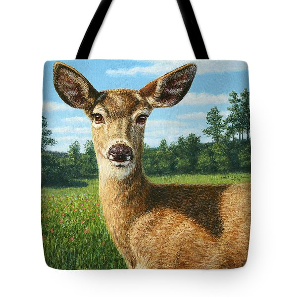 A Sunny Doe Tote Bag by James W Johnson