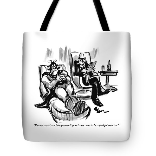 A Superhero Lays In A Chair Talking Tote Bag