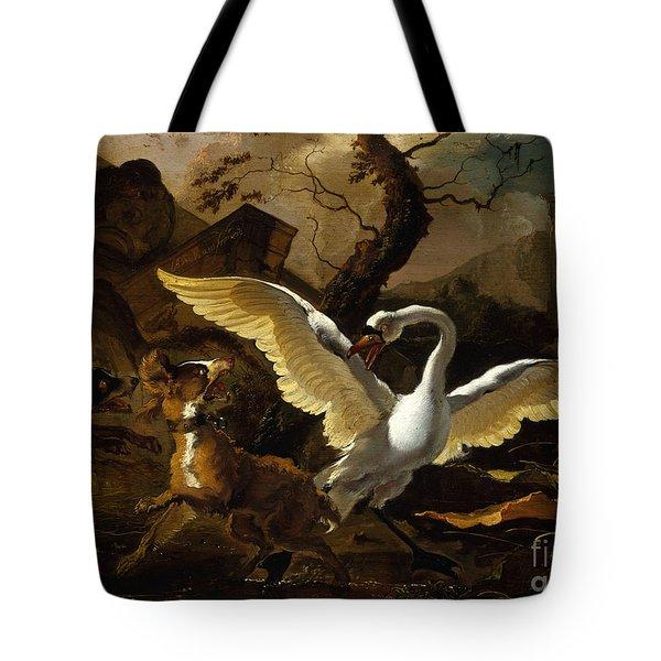 A Swan Enraged By Hondius Tote Bag