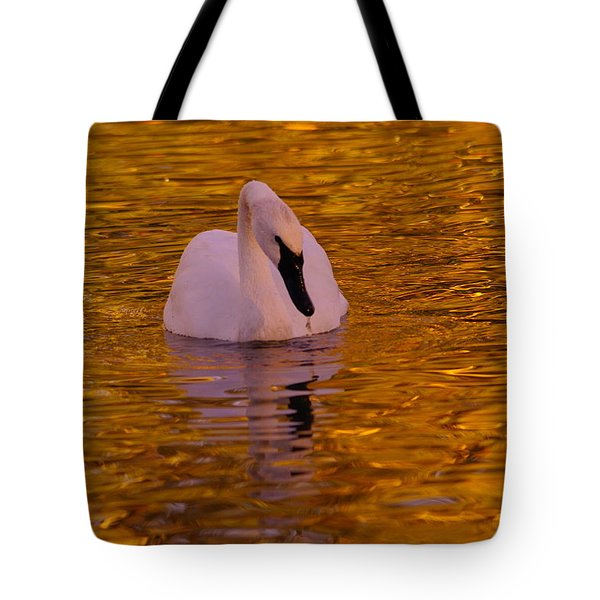 A Swan On Golden Waters Tote Bag