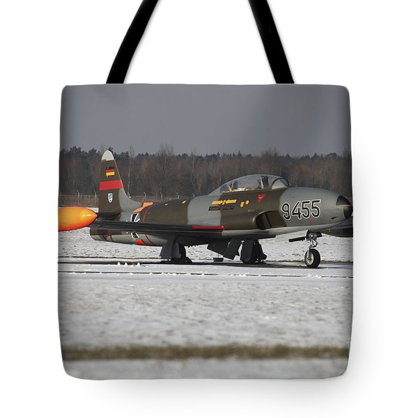 A T-33 Shooting Star Trainer Jet Tote Bag by Timm Ziegenthaler