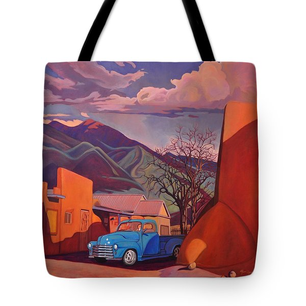 Tote Bag featuring the painting A Teal Truck In Taos by Art James West