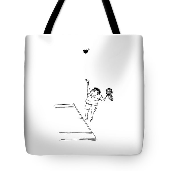 A Tennis Player Holds A Fishing Net Instead Tote Bag