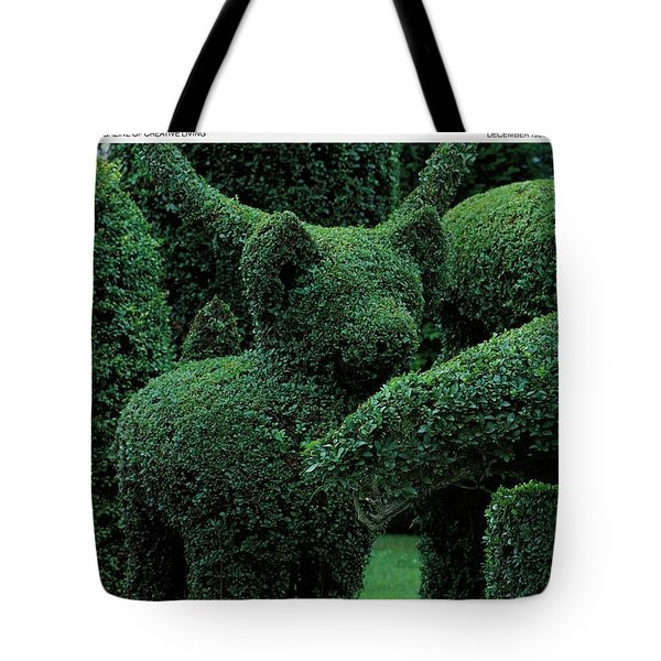 A Topiary Bear In Alice Braytons Green Animals Tote Bag