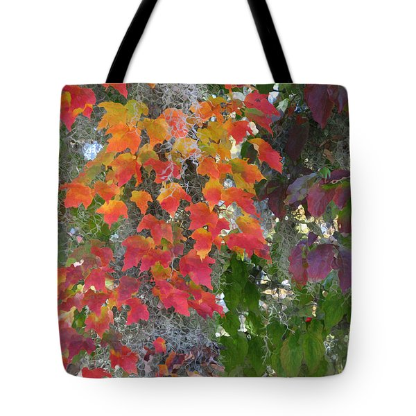 Tote Bag featuring the digital art A Touch Of Autumn by Mariarosa Rockefeller