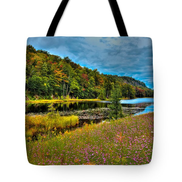 Summer Flowers On Bald Mountain Pond Tote Bag