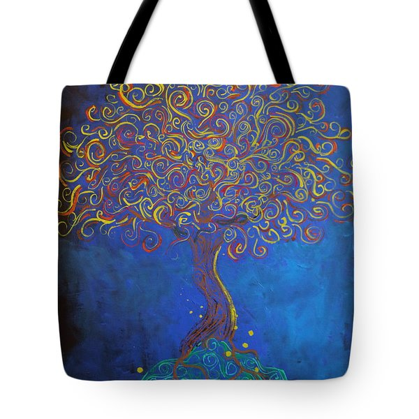 A Tree Of Orbs Glows Tote Bag