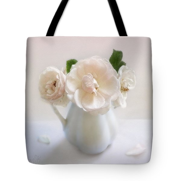 A Trio Of Pale Pink Vintage Roses Tote Bag by Louise Kumpf