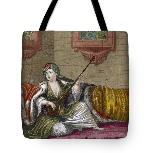 A Turkish Girl Playing The Tehegour Tote Bag by French School