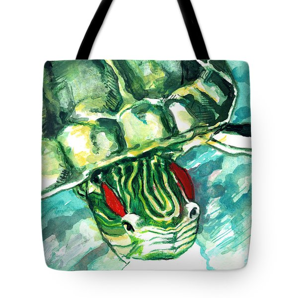 A Turtle Who Likes To Eat Fish Tote Bag