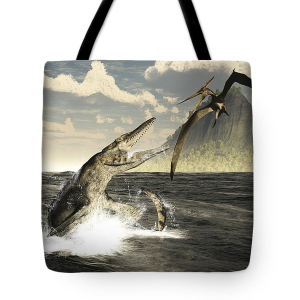 A Tylosaurus Jumps Out Of The Water Tote Bag