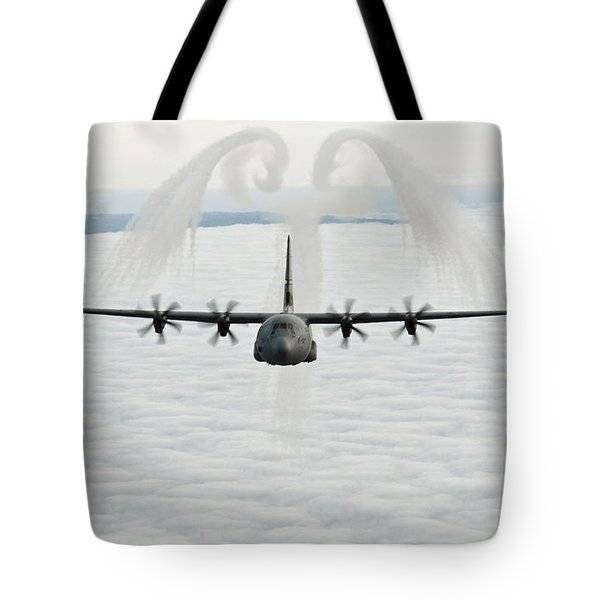 Tote Bag featuring the photograph A U.s. Air Force C-130j Hercules Cargo Aircraft by Celestial Images