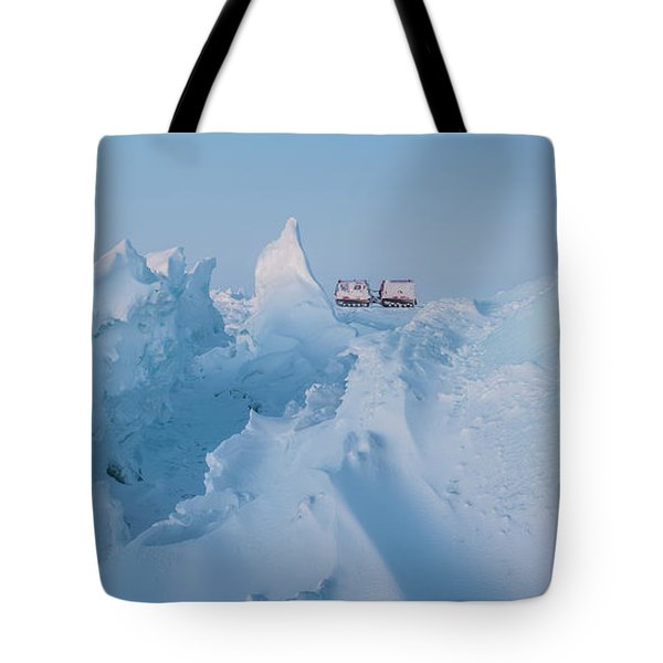 A Usap Hagglunds Vehicle Drives Tote Bag