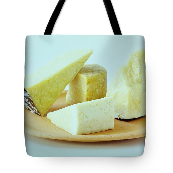 A Variety Of Cheese On A Plate Tote Bag