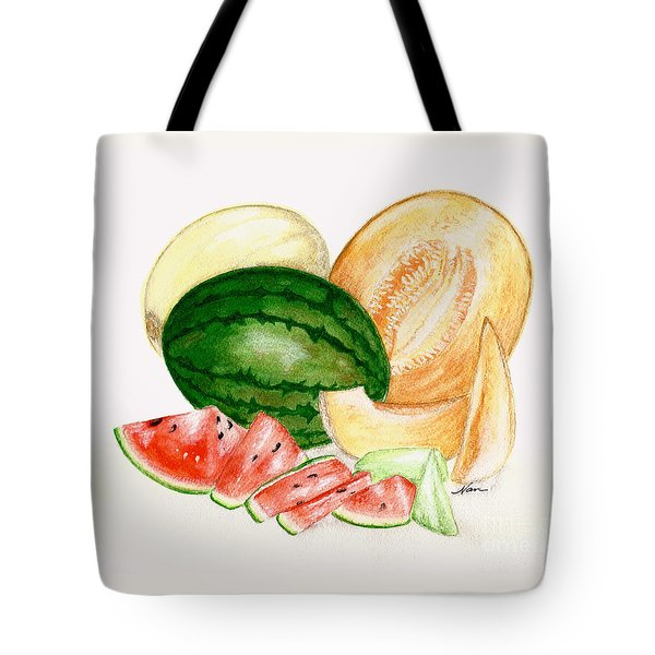A Variety Of Melons Illustration Tote Bag by Nan Wright