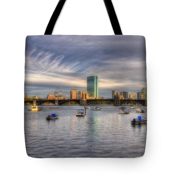 A View Of Back Bay - Boston Skyline Tote Bag by Joann Vitali