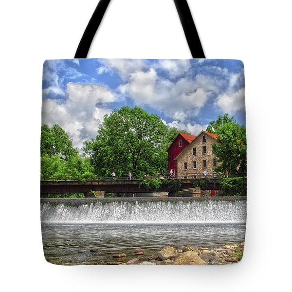 Tote Bag featuring the photograph A View Of The Mill From The River by Debra Fedchin