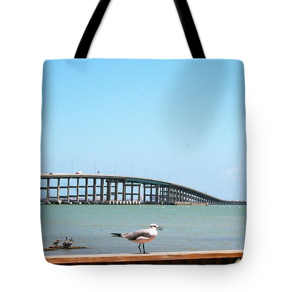 A View Of The Queen Isabella Causeway Tote Bag by Pat McGrath Avery