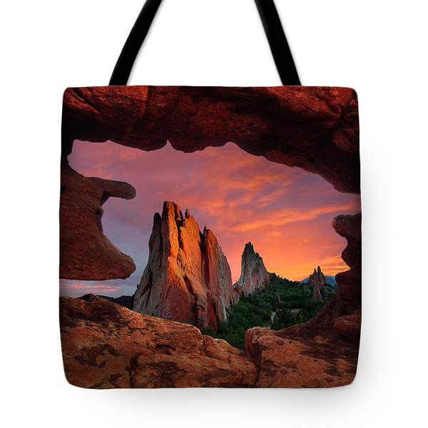 A View Through Window Rock At Siamese Twins Tote Bag by John Hoffman