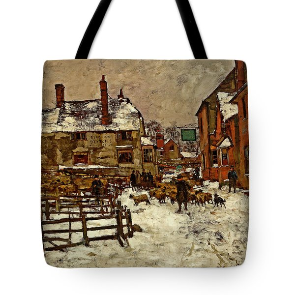 A Village In The Snow Tote Bag by Henry King