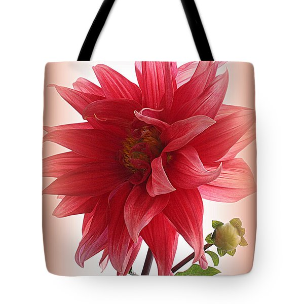A Vision In  Coral - Dahlia Tote Bag
