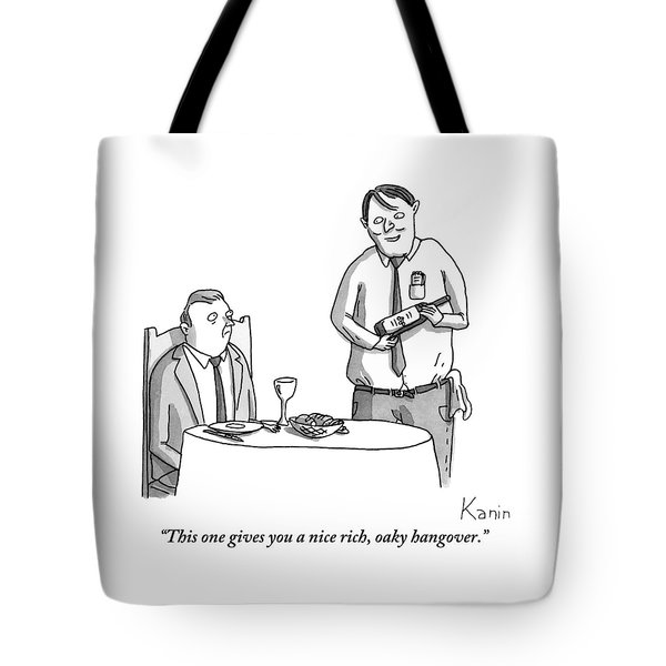 A Waiter Describes The Bottle Of Wine He Holds Tote Bag