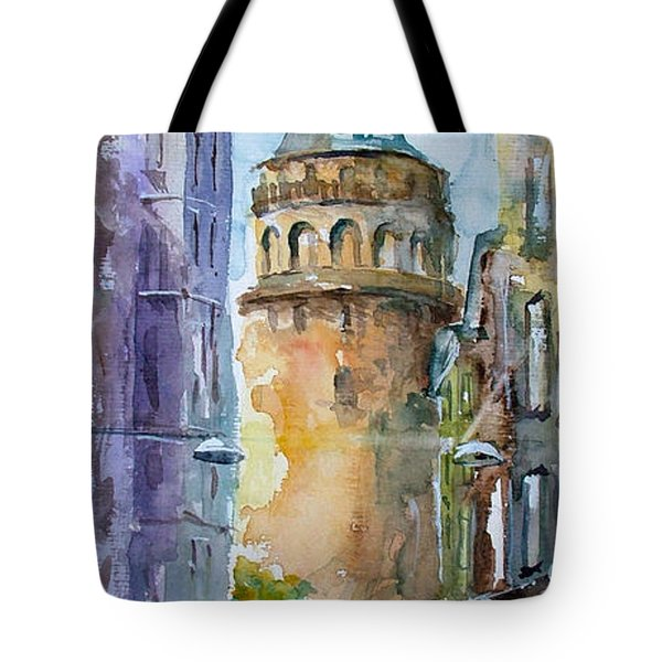 A Walk Around Galata Tower - Istanbul Tote Bag by Faruk Koksal