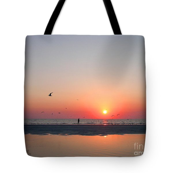 Tote Bag featuring the photograph A Walk At Sunset by Mariarosa Rockefeller