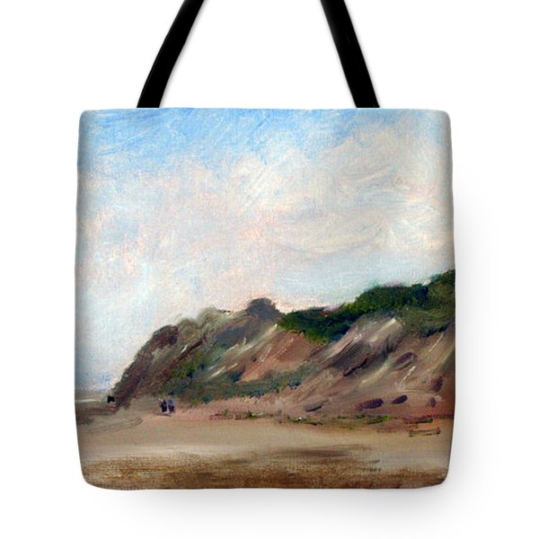 Tote Bag featuring the painting A Walk Down Cahoon Hollow Beach by Michael Helfen