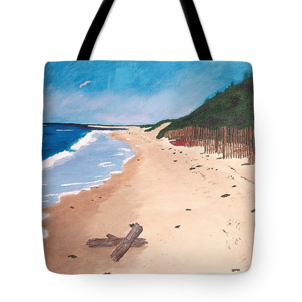 Tote Bag featuring the painting A Walk In Nantucket by Cynthia Morgan