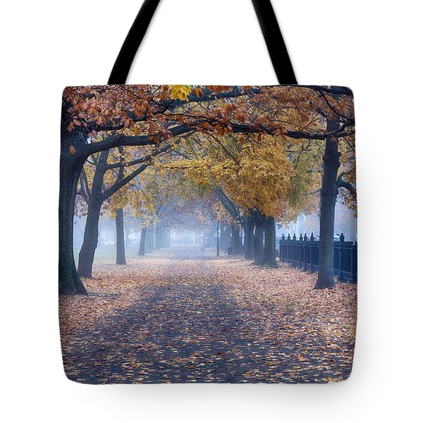Tote Bag featuring the photograph A Walk In Salem Fog by Jeff Folger