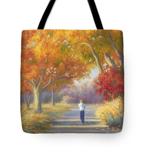 A Walk In The Fall Tote Bag by Lucie Bilodeau